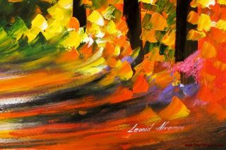 Leonid Afremov Tunnel of Love Fall Colors Original Oil Painting on