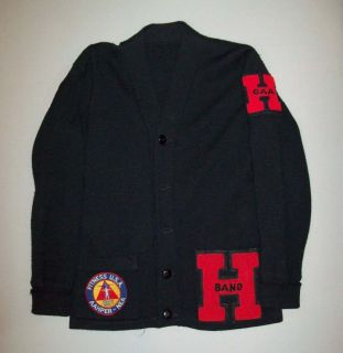 OLD VTG 1950s BLACK WOOL SCHOOL LETTERMAN SWEATER W/ ORIGINAL PATCHES
