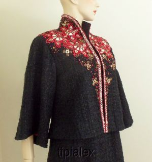 10K Chic Joanna Mastroianni Black Lesage Embroidered Beaded Dress Suit