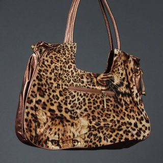Rhinestone Medium Tiger Leopard Animal Print Brown Bag