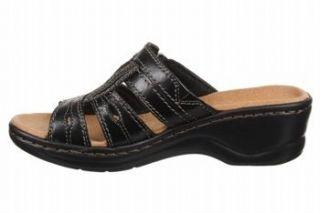 Clarks Bendables Lexi Belle Womens Leather Black Slide Sandals Shoes