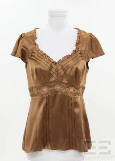 Nanette Lepore Brown Satin Silk Ruffle Trim Capsleeve Top Size 6