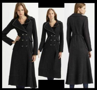 Nanette Lepore Cuff Me Long Wool Coat 12 UK 16 Leather Trim Long Maxi