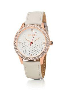 Folli Follie Stardust Watch with White Leather Strap