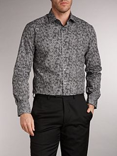 Paul Smith London Long sleeved floral print slim fit shirt Black