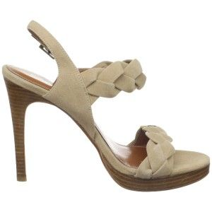 Calvin Klein Licia Kid Camel Suede E8332 High Heels Shoes Sandals New