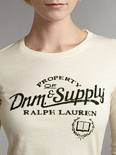 Denim and Supply Ralph Lauren Short sleeved t shirt with logo Cream