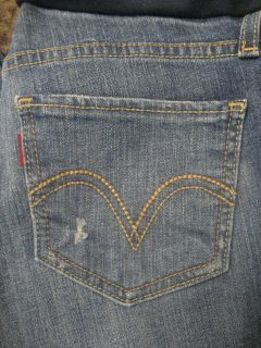 Levi Strauss Maternity Jeans Stretch Skinny Jean Distressed Blue Size