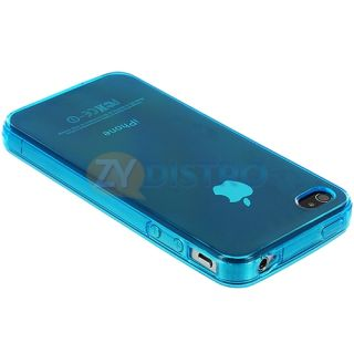 Light Blue TPU Frost Clear Rubber Skin Case Cover for iPhone 4 4S 4G