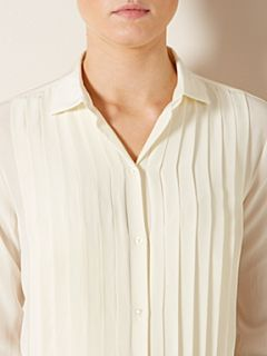 Lauren by Ralph Lauren Long sleeve silk tuxedo shirt Cream