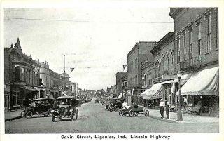 Ligonier Indiana in 1920s Downtown Cavin Street Vintage Postcard