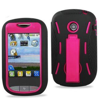 LG 800G Case Purple/White Impact Hard Case Cover+Silicone Case +Kick