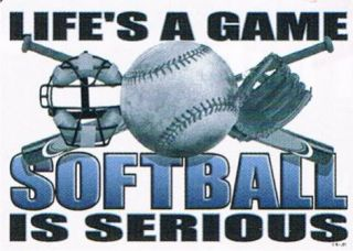 Lifes A Game Softball Is Serious Team Sport Fans Players Cool Funny T