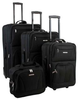 Rockland Deluxe Expandable 4 Piece Luggage Set Black
