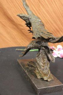 Two Eagle Wing Spread Soar in Air Bronze Sculpture Marble Base
