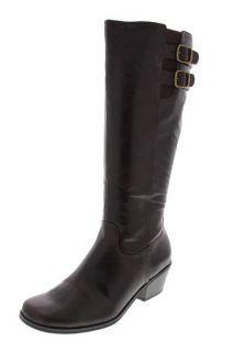 Lifestride New Somerset Brown Buckle Embellished Knee High Boots Heels