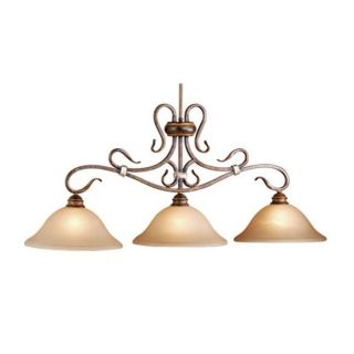 New 3 Light Kitchen Island Lighting Fixture Walnut Bronze Honey Linen