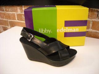 Libby Edelman Rose Black Platform Wedge Sandals