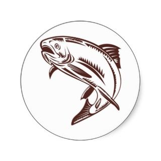trout jumping isolated on white sticker