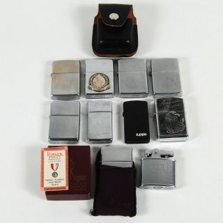 of 8 USED Zippo Windproof & 2 Ronson Lighters + Zippo Belt Clip Case