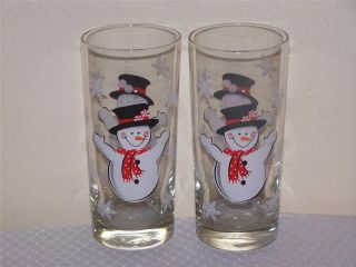 Libbey Glass 4 Christmas 15oz Happy Snowman Tumblers Drinking Glasses