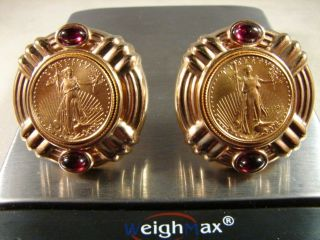 14K SOLID GOLD LIBERTY COIN GARNET CLIP/POST EARRINGS   NOT SCRAP N/R
