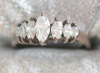 Lind 80s Art Moderne Crystal Rhinestone Sterling Ring