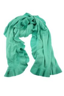 Lilly Pulitzer New Green Ruffled Cashmere Wrap Scarf One Size BHFO