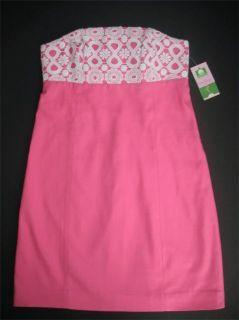 Lilly Pulitzer Bowen Pink Strapless Dress 0 2 8 10