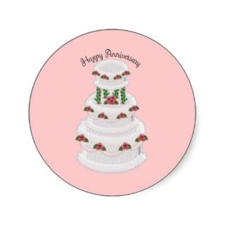 021 Happy Anniversary wedding cake cartoon pink Round Sticker