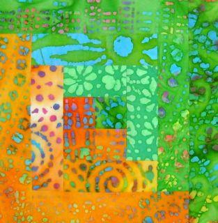 Batik 12 Block Log Cabin Pre Cut Quilt Kit 29 x 39 Lime Orange