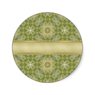 Green Gold Tapestry Round Stickers