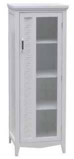 New Greek Key Bathroom Linen Tower Cabinet White