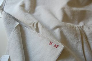 Antique Homespun French Oatmeal Linen Sheet – Monogram HM