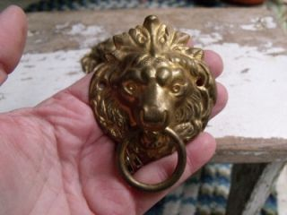 Gorgeous Antique Brass Lion Drawer Pulls