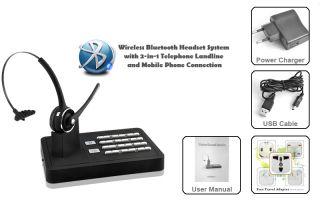 Hands Free Wireless Bluetooth Headset System 2 in 1 Landline & Mobile