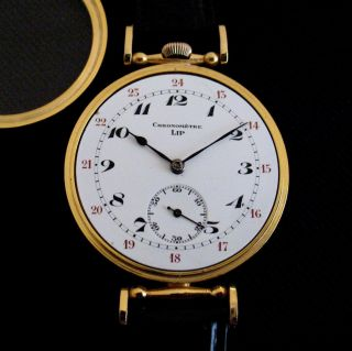 RARE Aged Excellent Lip Chronometre Watch Enamel Dial Gold Plated Case