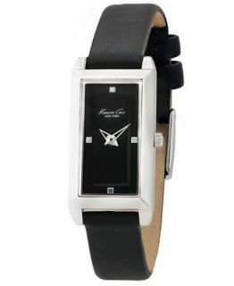 Kenneth Cole New York Watch, Womens Black Leather Strap 18mm KC2702