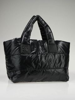 Chanel Black Burgundy Nylon Reversible Coco Cocoon Small Tote Bag