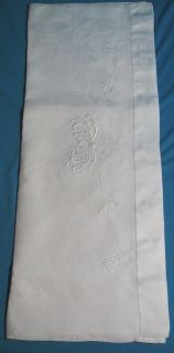 Beautiful Large 1915s Linen Damask Towel Arts and Crafts Embroidered