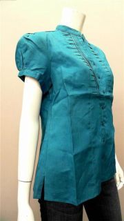 Lino USA Ladies Womens M Linen V Neck Button Down Top Teal Green Pleat