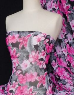 Lily floral print soft touch sheer dressmaking fabric material Q401