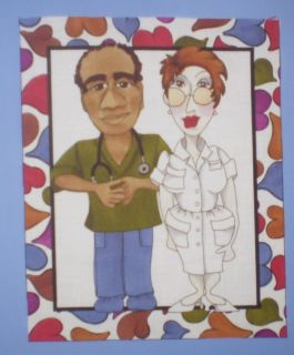 LORALIE LADY WARD NURSE & MEDICAL DOCTOR QUILT FABRIC PANEL FRAME #9