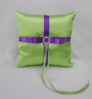 Lime Apple Green Purple Flower Girl Basket Halo Ring Pillow Guest Book