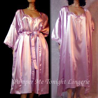 CACIQUE Lavender Shine Liquid Satin NWOT Nightgown & Peignoir Robe Set