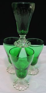Vtg Anchor Hocking Forest Green Boopie Burple Goblets 5 ⅛ Water