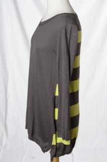 Lisa Todd Gray Lime Green Stripe Light Knit V Neck Sweater Sz S