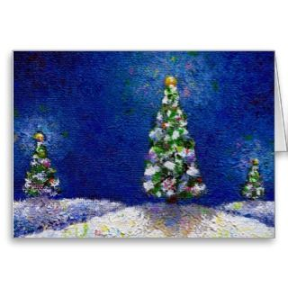 Christmas art fun colorful trees original painting cards by flyinggirl