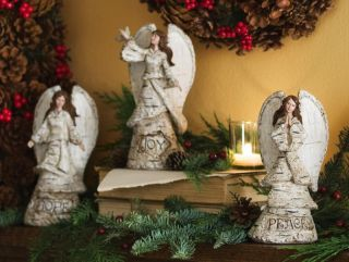 Birch Look Rustic Woodland Holiday Angel Set Christmas Home Decor New