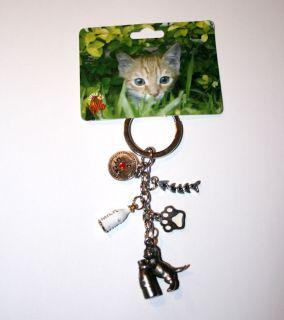 Cat Kitten with Milk Bottle Little Gifts Cat Breed Keychain for People